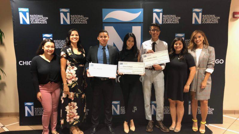 The NAHJ board presents the 2019 scholarship recipients: Matthew Mata/Loyola University, Erica Carbajal/ Depaul University and Jose Zepeda/ University of Illinois at Urbana-Champaign